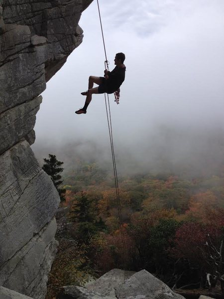 Rock Climbing Photo: DB rapping down on a cold, foggy day in the mounta...