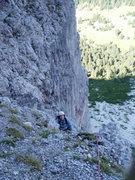 Rock Climbing Photo: Looking down at P2