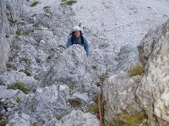 Rock Climbing Photo: Sheila Matz, near the top of P1