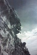 Rock Climbing Photo: Charlie Fowler on Parlez-Vous Hang-dog? (5.12), El...