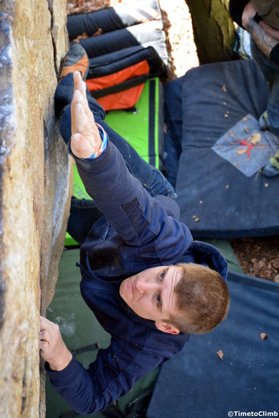Rock Climbing Photo: Andrew Messick Bouldering the V4 problem Cloud 9 t...