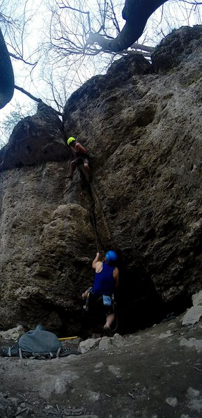 """Blowing the chains and taking a small whipper on a solid .75"""" placed right above the lip.  This is some very solid rock all the way up and takes nuts with one or two cams to protect. Probably the best crack on public land in Iowa."""