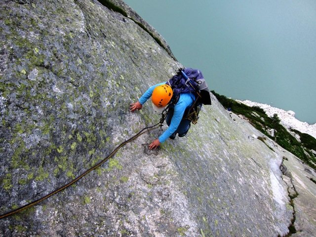 Rock Climbing Photo: Coming up the 3rd pitch of Lucia e Marcello