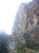 Rock Climbing Photo: This crack. Follow the bolts.