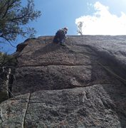 Rock Climbing Photo: Starting the wide fingers section. It eases up as ...