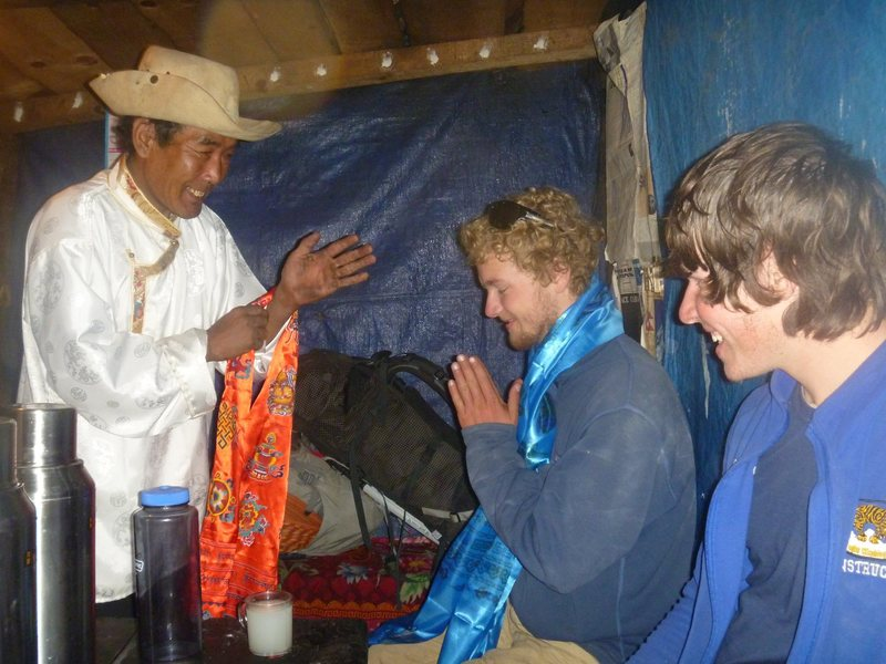 Getting traditional with our new friend Pasang from Jorsalle on Lhosar. Got royally drunk on chang. Great way to celebrate this climb ;)