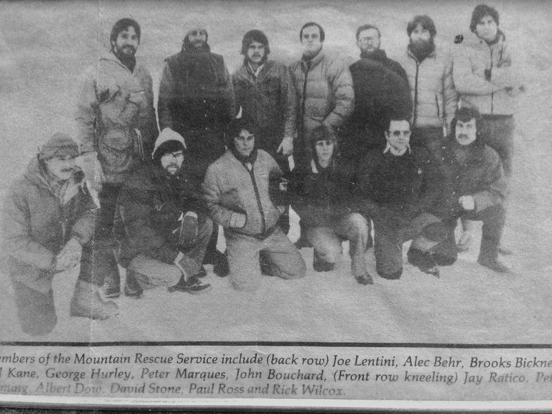 The Mt Rescue team in the late 70's Based in North Conway