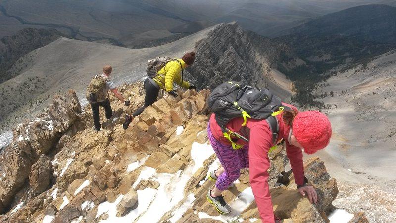 Down climbing Chicken Out Ridge