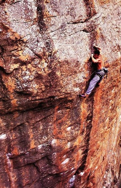 Jerry Moffat on the FA of Zorlac the Destroyer (31/5.13d), Mt. Arapiles<br> <br> Photo by Glenn Robbins