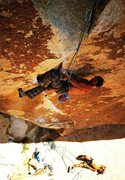 Rock Climbing Photo: Malcolm Matheson on the Acid Crack (5.12d), Joshua...