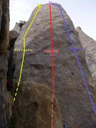 Rock Climbing Photo: The three moderate routes on the leaning tower, fr...