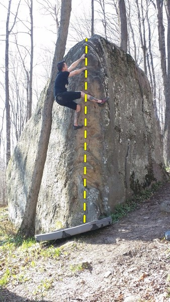 Climbing the easy shelves on Tall Bear