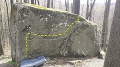 This traverse is along this boulder and end before the Bear Cub warm-up.