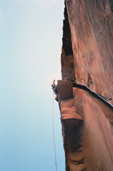 Clipping the anchor bolts after the third pitch off-width roof on Ixtlan 5.11c