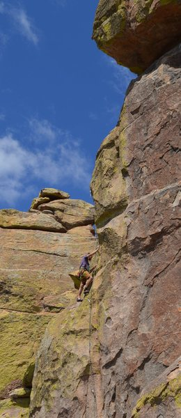 Rock Climbing Photo: One of two full recovery ledges on Trident.  The r...