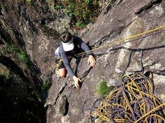 Rock Climbing Photo: Carol climbing the first pitch of Bosca