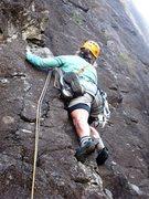 Rock Climbing Photo: Carol ready to break to the upper right on Bosca