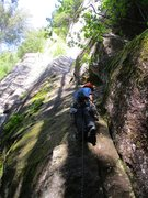 Rock Climbing Photo: Will starting up Pitch 1 of Rattletale. The route ...