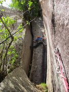 Rock Climbing Photo: Will stemming Pitch 3 of Rattletale.