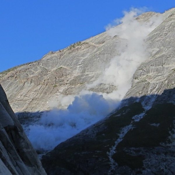 Clouds rest rockfall seen from the South Face of Mt. Watkins Yosemite, California