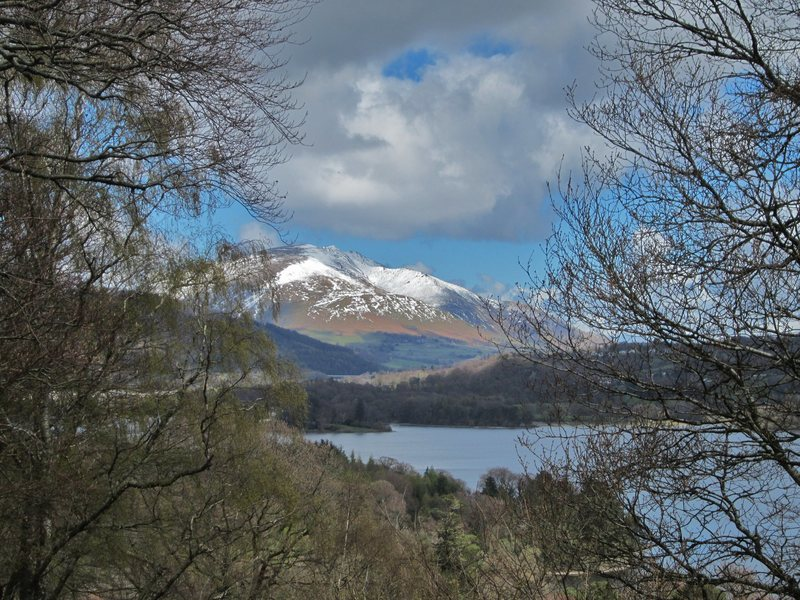 Blencathra Mountain across Lake Derwentwater .. Lake District