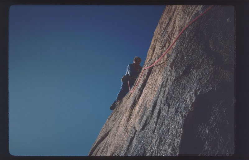Rock Climbing Photo: DE leading the second (crux) pitch.