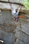 Rock Climbing Photo: Frank calmly placing gear mid crux.
