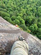 Rock Climbing Photo: red, black & blue at P2 crux