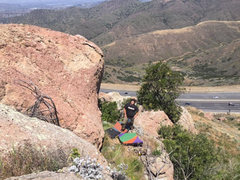 Rock Climbing Photo: Slab Me Silly ascends the left side of the slightl...