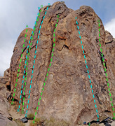 Rock Climbing Photo: W + S faces of Tootsie Pop Tower overview of route...