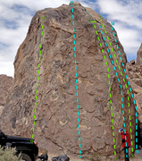 Rock Climbing Photo: SE side of Tootsie Pop Tower overview of routes: G...