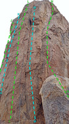 Rock Climbing Photo: East face Tootsie Pop Tower overview of routes: J ...
