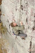 Rock Climbing Photo: Frogging-up for a bump to a better hold at the top...