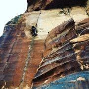 Rock Climbing Photo: Devin on lead.