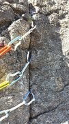 Rock Climbing Photo: Pins at belay ledge