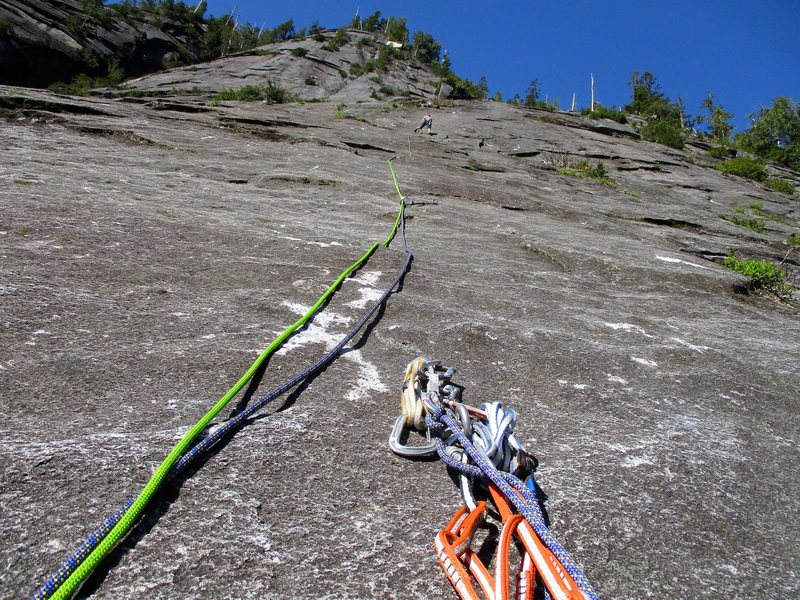 Looking up from the belay at the top of Pitch 1 of Silent Running.