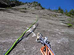 Rock Climbing Photo: Looking up from the belay at the top of Pitch 1 of...