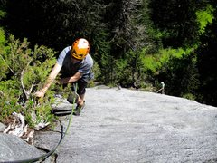 Rock Climbing Photo: Laybacking the tree at the top of Pitch 3 of The B...