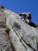 Rock Climbing Photo: Joe climbing the layback crack at the start of Pit...