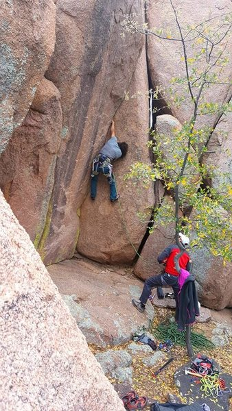 Enrico on the 1st ascent while I belay.