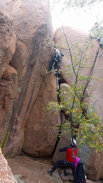 Rock Climbing Photo: Enrico turning the corner into the upper vertical ...