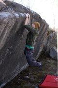 Kraig Decker getting the first ascent.
