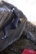 Rock Climbing Photo: Heavy heel hooking on this problem.