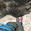 The obligatory feet shot. Top of the 5th pitch of Rainbow Buttress. Yeah, it's a long way down...