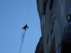 Rock Climbing Photo: Ryan rapping back into the P-1 anchors