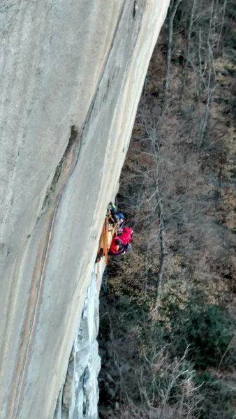 Hanging on the ledge below P-2