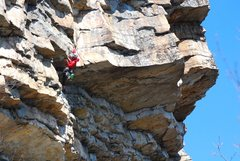 Rock Climbing Photo: Climber pulling the roof on Yellow Wall.  Taken fr...
