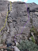 Rock Climbing Photo: 'Where the Green Fern Grows' is crack on the left ...
