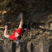 Rock Climbing Photo: The pocket crux. You actually have to leave the wi...