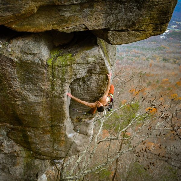 Redpointing Edge of Might 12c, at Sunset Rock Chattanooga, TN.